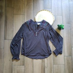 Free People embroidered henley thermal lace top